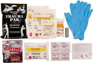 Adventure Medical Kits Professional Trauma Pak with QuikClot should be included in your kit.